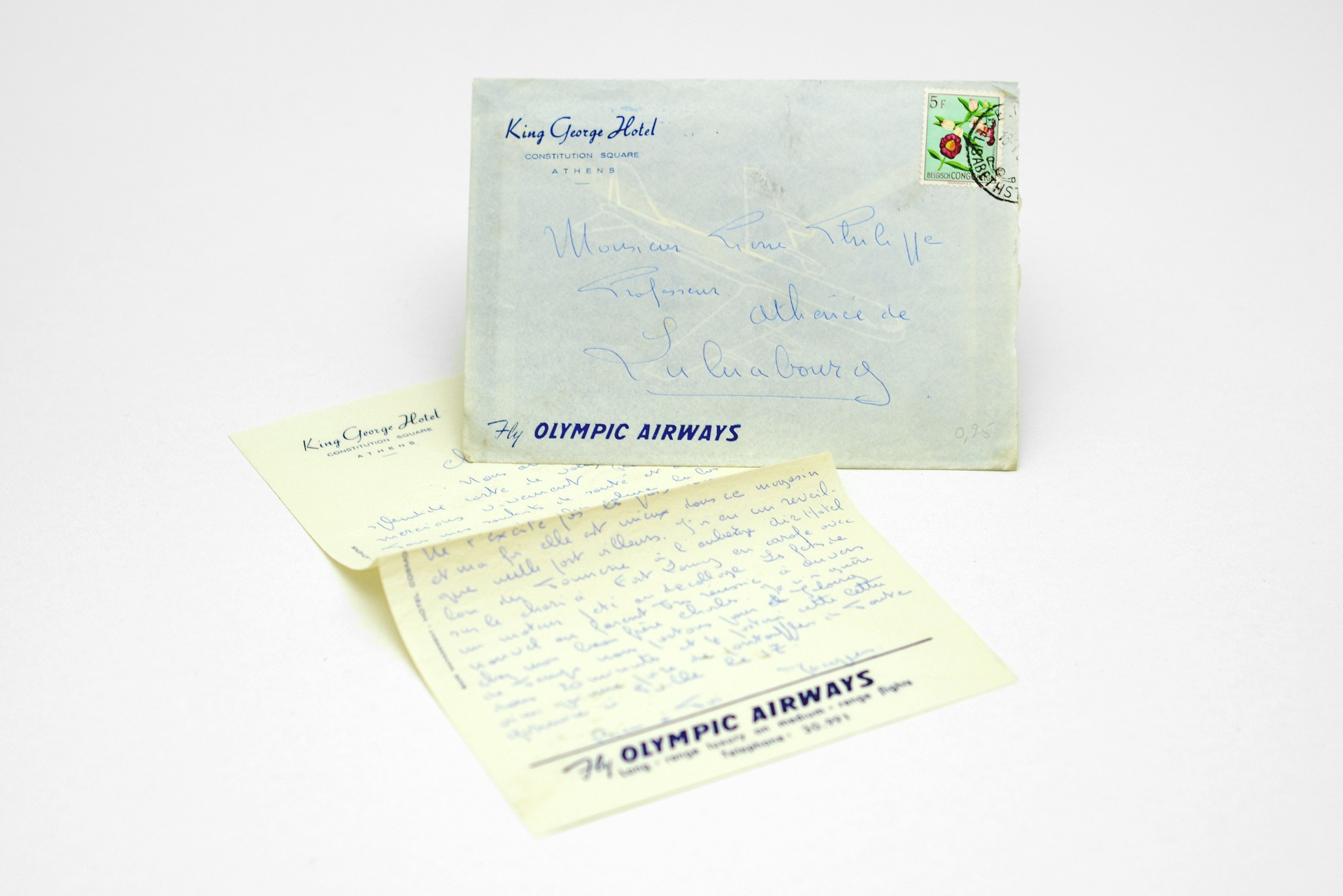 1950s King George Hotel handwritten envelope & letter featuring Olympic Airways logo