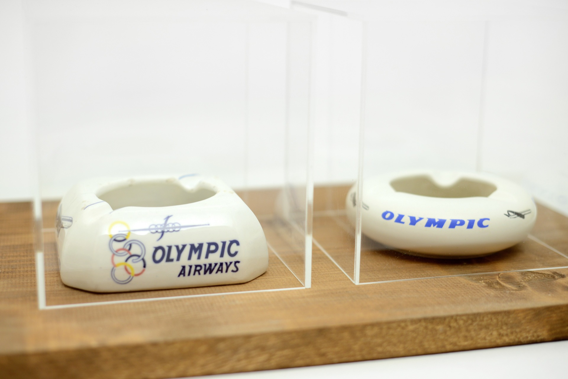 "1960s Olympic Airways ""Jetliner Comet 4B""ceramic ashtray made in Italy by Ceramiche Titano & 1960s Olympic Airways ceramic ashtray made in Greece by Keramikos"