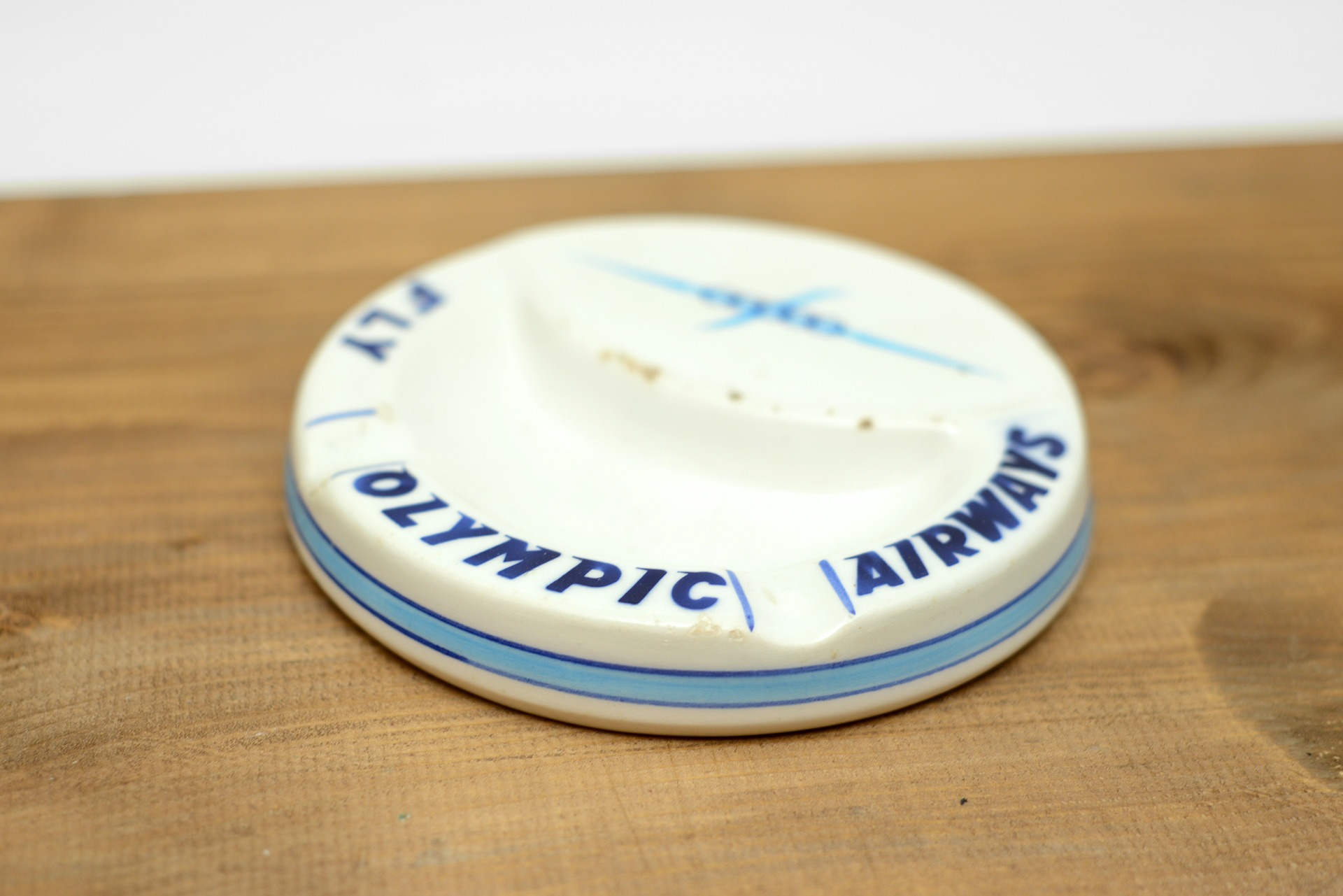 1960s Olympic Airways ceramic ashtray by Ceramica Titano, San Marino