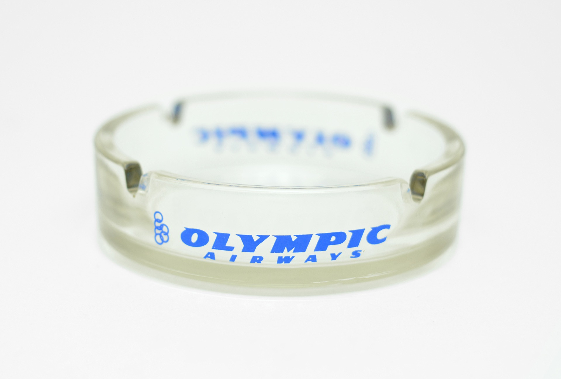 1980s Olympic Airways glass ashtray