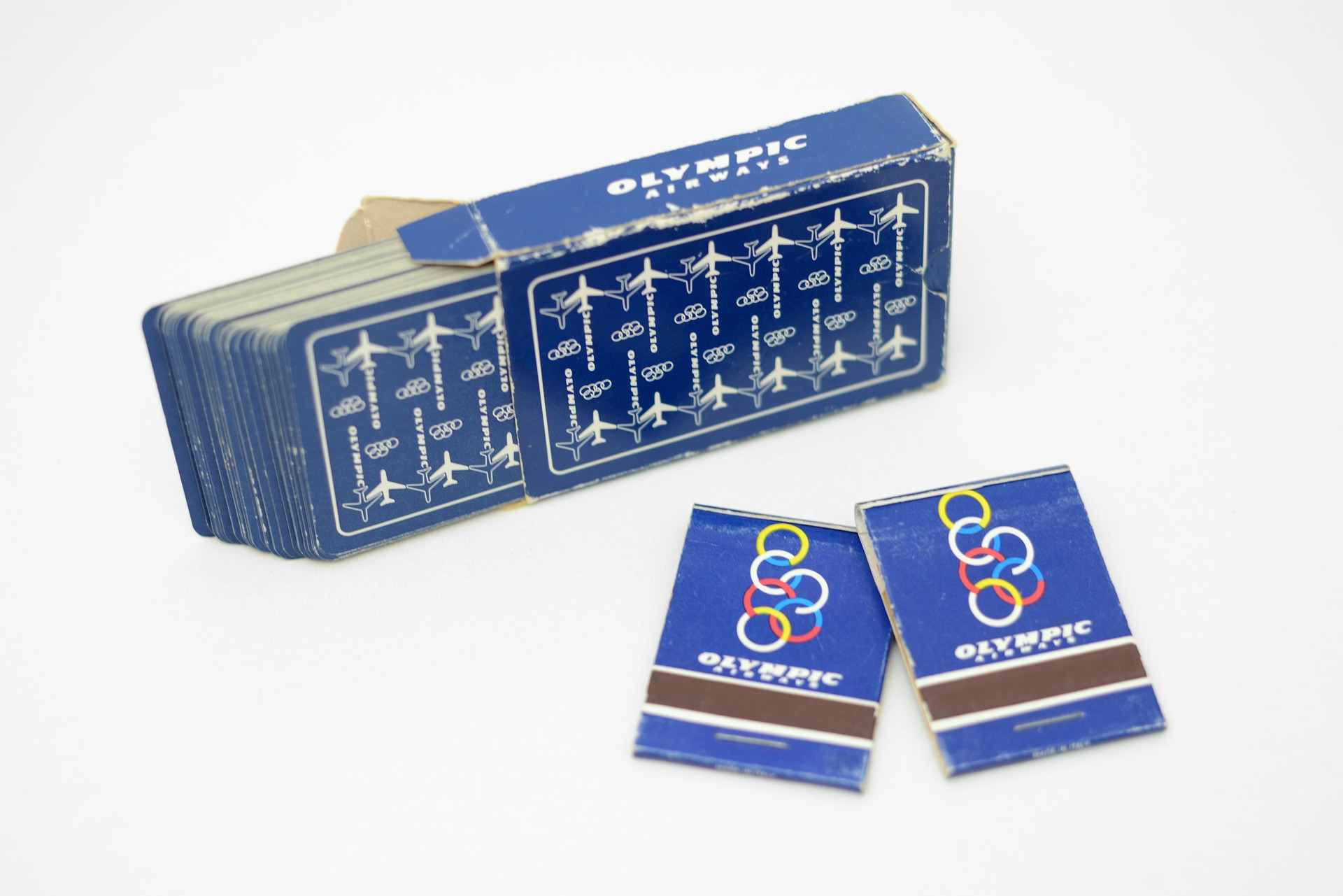 1980s Olympic Airways playing cards & matchbooks