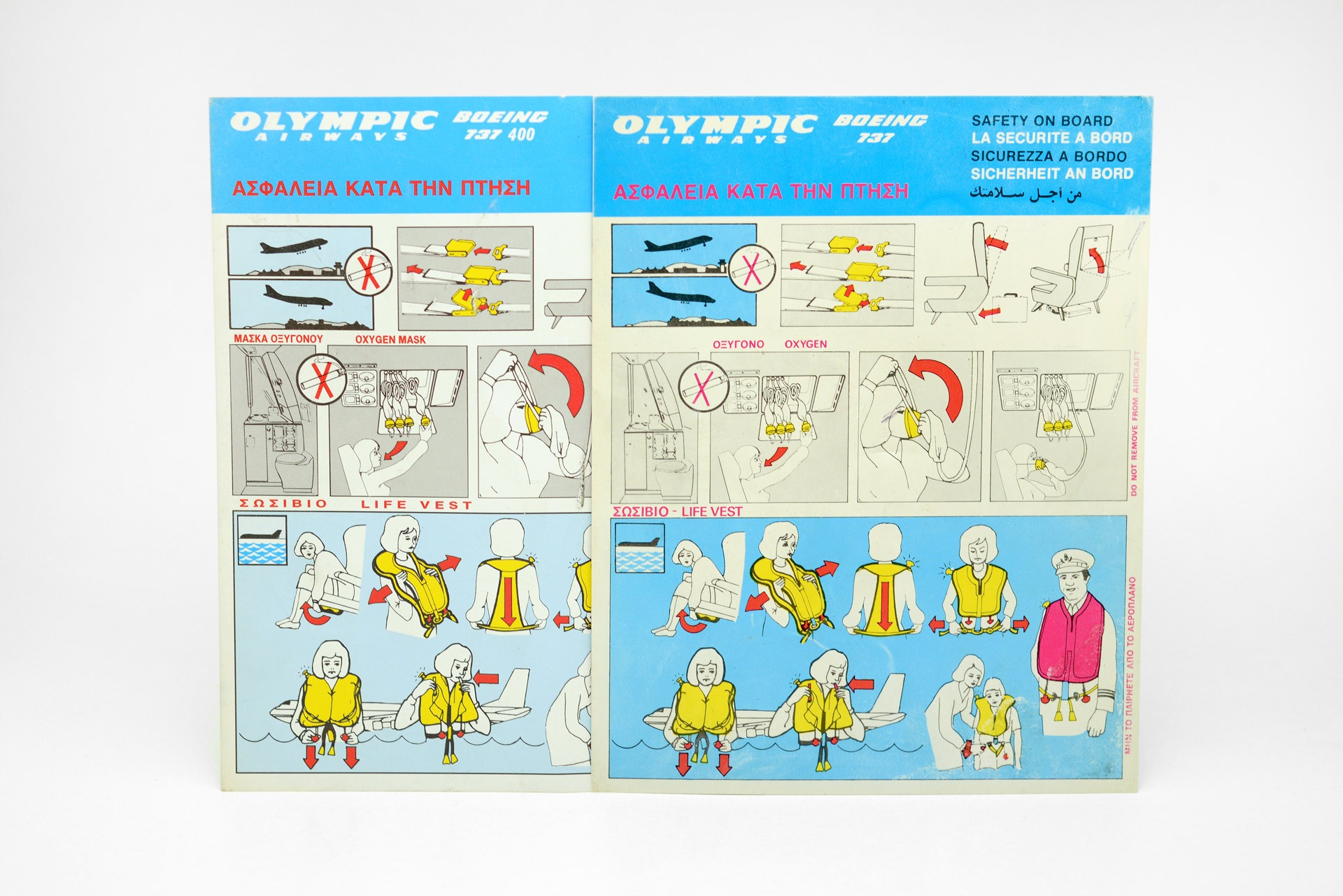 1990s Olympic Airways Boeing 737 safety cards printed in Greece