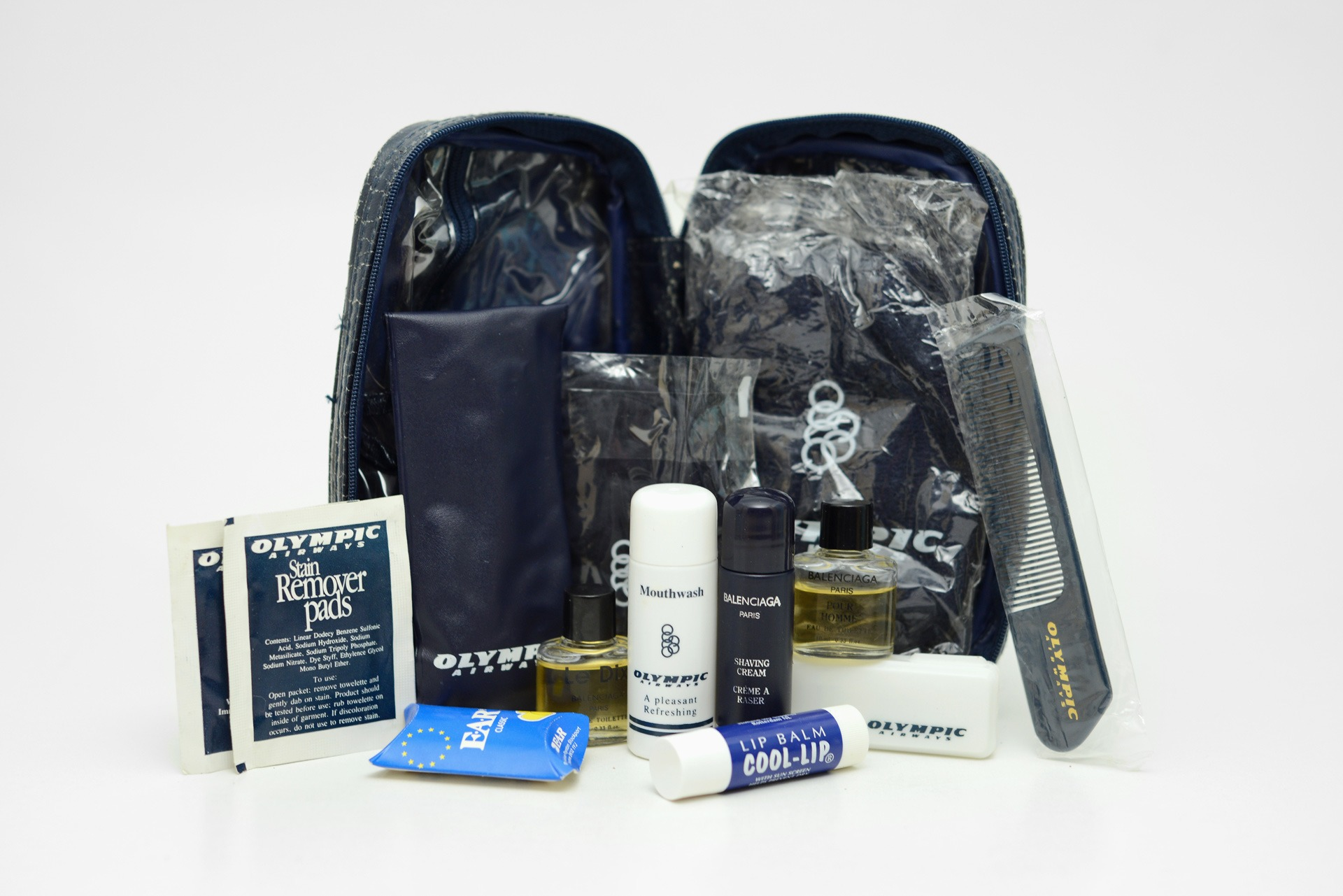 "1990s Olympic Airways ""Olympian Executive Class"" amenity kit"