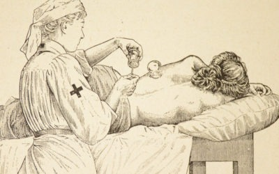 14 vintage medical illustrations of a 1920 manual book by the French Red Cross